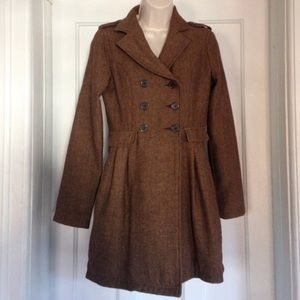 Heritage 1981 Brown Houndstooth Pea Trench Coat